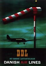 Art Print DDL Danish Air Lines Plane poster