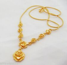Flower Rose 22K 23K 24K THAI BAHT YELLOW GP GOLD NECKLACE Jewelry