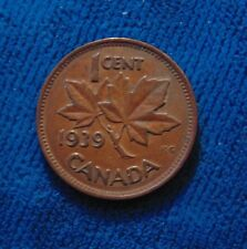 1939 CANADA Canadian one 1 cent penny copper King George VI