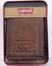Wallet Levis Tan Bifold Leather Slimfold Money Clip Billfold Gift Box Men NWT