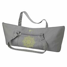 Gaiam Yoga Mat Tote Bag, Citron Sundial, Embroidered, 100%cotton, lined in Nylon