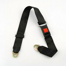 Black Car Seat Belt Lap Belt Two Point Adjustable Safety Universal OV
