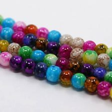100 x 6MM ASSORTED COLOURED GLASS OPAQUE DRAWBENCH BEADS, JEWELLERY MAKING