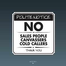 SKU082 - No Cold Callers Canvassers Sales Front Door Sign Sticker - 140 x 140mm