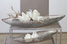 """Dekorative Schale """"Purley"""" geschwungen aus Metall antik-silber L.60/B16/H7 cm"""