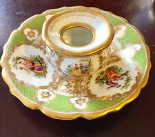 Antique Crown AK DRESDEN GERMAN Candle Holder & Saucer Plate Apple Green Gold
