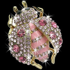 HUGE Lucky LADYBUG Pink Pave Set  Crystal Cz DOME Cocktail Ladies Animal Ring