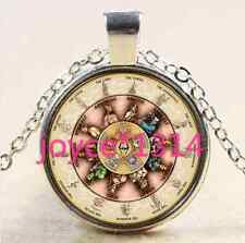 Vintage Ouija Board Cabochon Tibetan silver Glass Chain Pendant Necklace@XP-2346