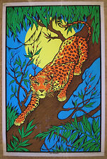 Vintage LEOPARD blacklight poster animal jungle African wild original 23x35 NOS