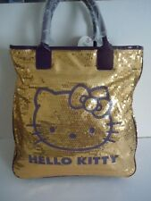 RARE EXTRA LARGE SIZE 2010 SANRIO CAMOMILLA HELLO KITTY GOLD SEQUIN HANDBAG TOTE