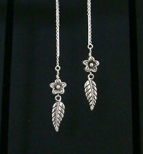 *IAJ* GARDEN FLOWER with LEAF DANGLE STERLING SILVER Threads Threader Earrings