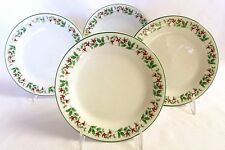 Christmas China Salad Plates Set of 4 Gibson Holly Celebration Green Rims FS