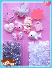 DIY Mix Resin Cute White&Pink cell phone flatback kawaii cabochon deco kits