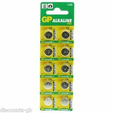 10 GP Ultra LR44 Alkaline Cell Batteries - Pack of 10 AG13, LR 1154, 157 357 A76
