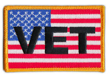 Motorcycle Jacket Embroidered Patch - United States Flag USA (Military Vet Flag)