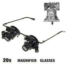 20x Magnifier LED Binocular Dual Magnifying Glasses Jewelry Watch Trinket Repair