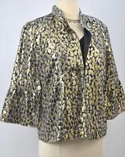 Chicos blazer top light Jacket open coat leopard shimmer crop Chico SZ 0 S NEW