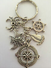 NAUTICAL Vintage Style Silver Color Key Ring bag charm birthday gift present