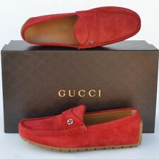 GUCCI New sz 12 G - US 12.5 Authentic Designer Mens Drivers Loafers Shoes red
