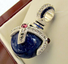 SALE ! BEAUTIFUL RUSSIAN PENDANT STERLING SILVER 925 w/ GENUINE LAPIS & GARNET
