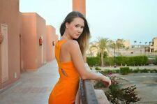 RARE! Zara Arancione Mandarino tagliato Indietro Abito a Matita Taglia L UK 12