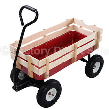 Outdoor Wagon ALL Terrain Pulling Children Kid Garden Cart w/ Wood Railing Red