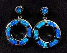 "Sterling 925 Silver SF Stud Earrings Blue Lab Fire Opal Big 3/4"" Circles 1"" Drop"