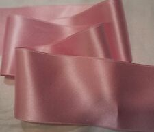 "5/8"" WIDE DOUBLE FACE SILK SATIN RIBBON - MED. PINK #2  BY THE YARD"
