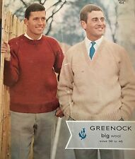 """Vintage Knitting Pattern For Chunky V-neck And Round Neck Jumpers  -Sizes 36-46"""""""