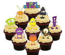 Monster Party, 36 Edible Cup Cake Toppers, Fairy Bun Decorations Kids Birthday