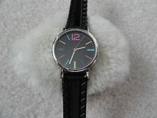Men's Quartz Watch with a Colorful Dial and Black Band