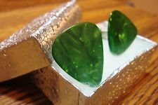 Green Swirl Pearlescent Guitar Pick Cuff links 1 Pair (Two)  SILVER Plated * New