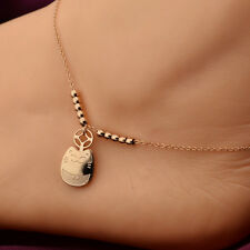 """10"""" Rose Gold Lucky Cat Charm Stainless Steel Women Girl's Foot Chain Anklet"""