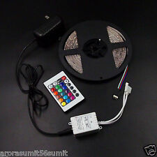 5M RGB 3528 NON WATERPROOF 300 LED STRIP +24 KEY REMOTE CONTROLLER + Pwr Adapter