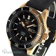 Seiko 5 Sports Black and Rose Gold Rubber Strap Divers SRP560J1