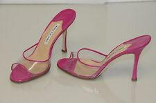 $715 New MANOLO BLAHNIK Pink Fuchsia PVC  ASTUTA Slide SANDALS HEELS SHOES 38.5