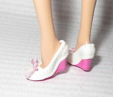 *SHOES ~ BARBIE DOLL MY MELODY MODEL MUSE WHITE WEDGE BOW LOAFERS HIGH HEELS
