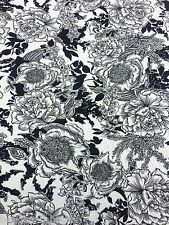2.0M - SOFT TOUCH Viscose Rayon Floral Sketched Jersey Stretch Sew Fabric [478]