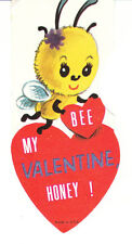 Vintage Valentine Card Bee and Red Heart Unused Die Cut for Child