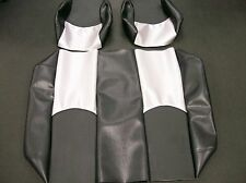 Yamaha G22 Golf Cart Custom Vinyl Seat Covers-Staple On(BLACK/BLACK&SILVER CF)