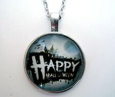 Médaillon vintage + chaine collier-Halloween /Medallion + chain necklace