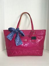 Coach Poppy Pink Liquid Gloss Patent Leather Tote & Scarf 18674 EUC