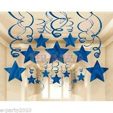 BLUE SHOOTING STARS FOIL SWIRL DECORATIONS (30) ~ Birthday Party Supplies