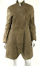 BRUNELLO CUCINELLI Light Brown Suede & Techno Sleeve Shearling Fur Coat 46
