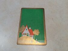 Vintage Swap Playing Card Art Deco House Linen Orange Gold Green White