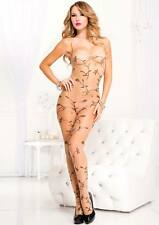 849Sheer Nude + Black Vine Leaf Print Low Back Body Stocking Sexy Lingerie P1061