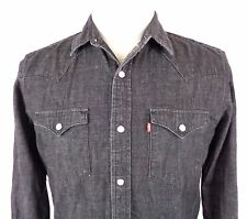 Levis Small Denim Pearl Snap Shirt Black Gray Western Long Sleeve Cotton Red Tab