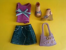 My Scene / Barbie Doll Clothes Outfit Sparkly Blue Skirt Top Purse Shoes Lot