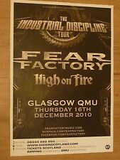 Fear Factory + High On Fire - Glasgow dec.2010 tour concert gig poster