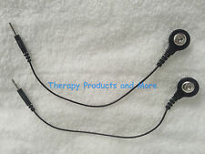 (2) Electrode Lead Wires Black PIN-TO-SNAP Convert Pin Leads to Snap Lead Cables